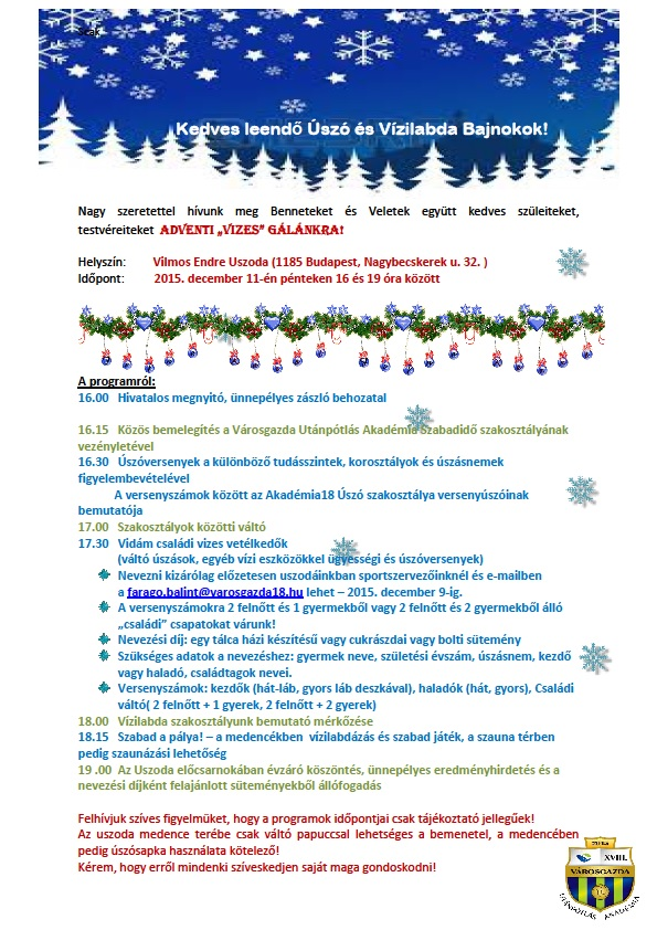 Adventi vizes gala program